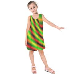 Neon Color Fractal Lines Kids  Sleeveless Dress
