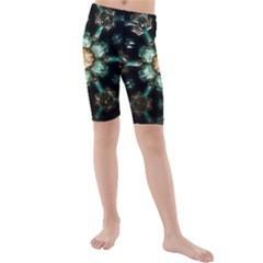 Kaleidoscope With Bits Of Colorful Translucent Glass In A Cylinder Filled With Mirrors Kids  Mid Length Swim Shorts