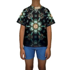 Kaleidoscope With Bits Of Colorful Translucent Glass In A Cylinder Filled With Mirrors Kids  Short Sleeve Swimwear