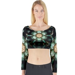 Kaleidoscope With Bits Of Colorful Translucent Glass In A Cylinder Filled With Mirrors Long Sleeve Crop Top