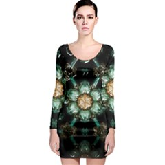 Kaleidoscope With Bits Of Colorful Translucent Glass In A Cylinder Filled With Mirrors Long Sleeve Bodycon Dress