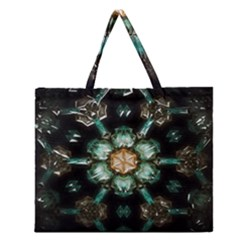 Kaleidoscope With Bits Of Colorful Translucent Glass In A Cylinder Filled With Mirrors Zipper Large Tote Bag