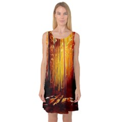 Artistic Effect Fractal Forest Background Sleeveless Satin Nightdress