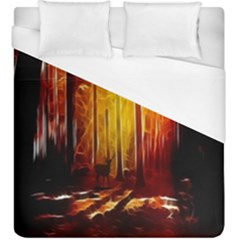 Artistic Effect Fractal Forest Background Duvet Cover (king Size) by Simbadda