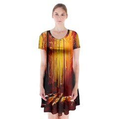 Artistic Effect Fractal Forest Background Short Sleeve V Neck Flare Dress