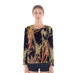 Artistic Effect Fractal Forest Background Women s Long Sleeve Tee by Simbadda