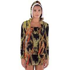 Artistic Effect Fractal Forest Background Women s Long Sleeve Hooded T-shirt by Simbadda