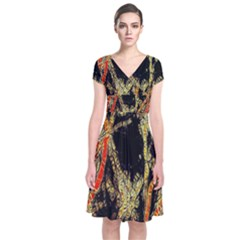 Artistic Effect Fractal Forest Background Short Sleeve Front Wrap Dress by Simbadda
