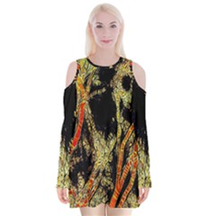 Artistic Effect Fractal Forest Background Velvet Long Sleeve Shoulder Cutout Dress