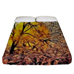 Summer Sun Set Fractal Forest Background Fitted Sheet (california King Size) by Simbadda