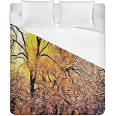 Summer Sun Set Fractal Forest Background Duvet Cover (california King Size) by Simbadda