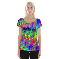 Digital Rainbow Fractal Women s Cap Sleeve Top