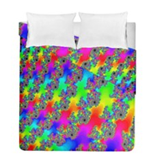 Digital Rainbow Fractal Duvet Cover Double Side (full/ Double Size) by Simbadda