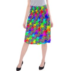 Digital Rainbow Fractal Midi Beach Skirt