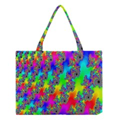 Digital Rainbow Fractal Medium Tote Bag by Simbadda