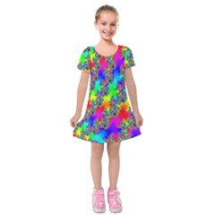 Digital Rainbow Fractal Kids  Short Sleeve Velvet Dress