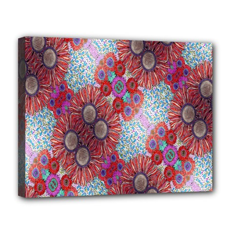 Floral Flower Wallpaper Created From Coloring Book Colorful Background Canvas 14  X 11  by Simbadda