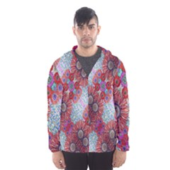 Floral Flower Wallpaper Created From Coloring Book Colorful Background Hooded Wind Breaker (men)
