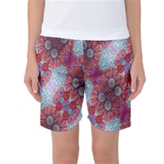 Floral Flower Wallpaper Created From Coloring Book Colorful Background Women s Basketball Shorts by Simbadda