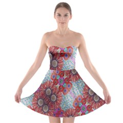Floral Flower Wallpaper Created From Coloring Book Colorful Background Strapless Bra Top Dress