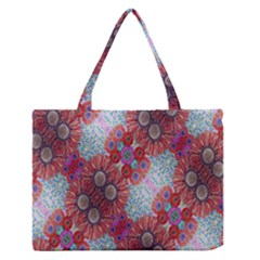 Floral Flower Wallpaper Created From Coloring Book Colorful Background Medium Zipper Tote Bag by Simbadda