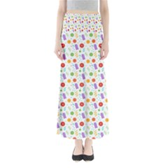 Decorative Spring Flower Pattern Maxi Skirts