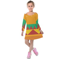 Burger Bread Food Cheese Vegetable Kids  Long Sleeve Velvet Dress