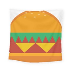 Burger Bread Food Cheese Vegetable Square Tapestry (small) by Simbadda