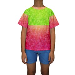Colorful Abstract Triangles Pattern  Kids  Short Sleeve Swimwear by TastefulDesigns