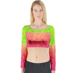 Colorful Abstract Triangles Pattern  Long Sleeve Crop Top