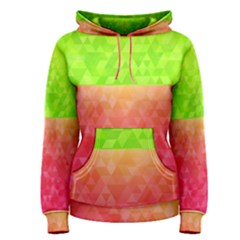 Colorful Abstract Triangles Pattern  Women s Pullover Hoodie by TastefulDesigns