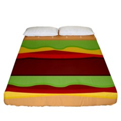 Vector Burger Time Background Fitted Sheet (king Size)