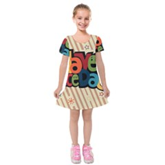 Have A Nice Happiness Happy Day Kids  Short Sleeve Velvet Dress by Simbadda