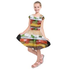 Abstract Barbeque Bbq Beauty Beef Kids  Short Sleeve Dress by Simbadda