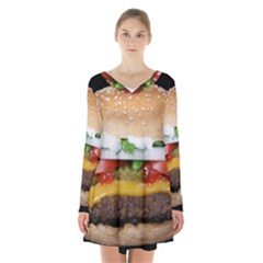 Abstract Barbeque Bbq Beauty Beef Long Sleeve Velvet V Neck Dress
