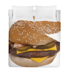 Cheeseburger On Sesame Seed Bun Duvet Cover Double Side (full/ Double Size) by Simbadda