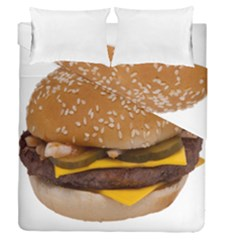 Cheeseburger On Sesame Seed Bun Duvet Cover Double Side (queen Size) by Simbadda