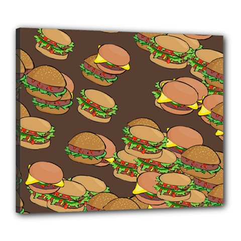 A Fun Cartoon Cheese Burger Tiling Pattern Canvas 24  X 20  by Simbadda