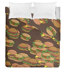 A Fun Cartoon Cheese Burger Tiling Pattern Duvet Cover Double Side (queen Size) by Simbadda