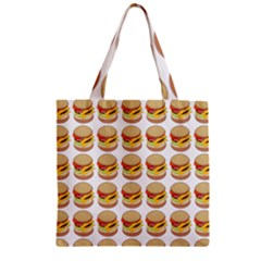 Hamburger Pattern Zipper Grocery Tote Bag by Simbadda