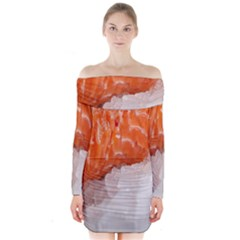 Abstract Angel Bass Beach Chef Long Sleeve Off Shoulder Dress