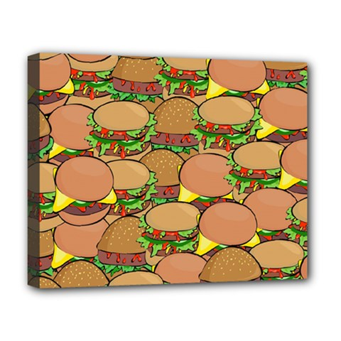 Burger Double Border Deluxe Canvas 20  X 16   by Simbadda