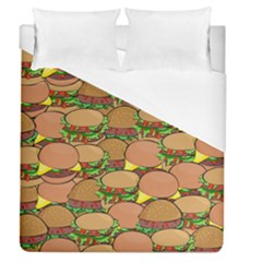 Burger Double Border Duvet Cover (queen Size) by Simbadda