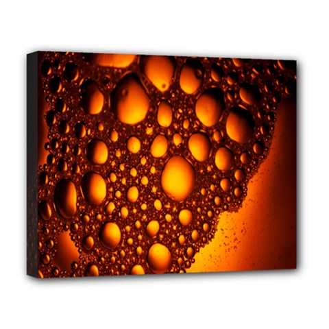 Bubbles Abstract Art Gold Golden Deluxe Canvas 20  X 16   by Simbadda