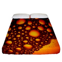 Bubbles Abstract Art Gold Golden Fitted Sheet (king Size) by Simbadda
