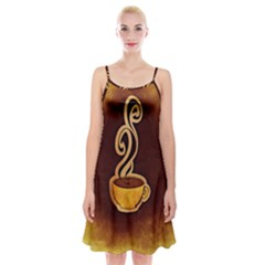 Coffee Drink Abstract Spaghetti Strap Velvet Dress