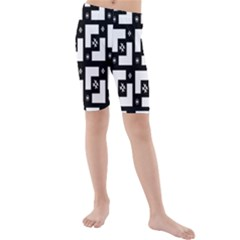 Abstract Pattern Background  Wallpaper In Black And White Shapes, Lines And Swirls Kids  Mid Length Swim Shorts by Simbadda