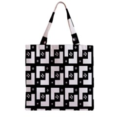 Abstract Pattern Background  Wallpaper In Black And White Shapes, Lines And Swirls Zipper Grocery Tote Bag by Simbadda