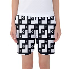 Abstract Pattern Background  Wallpaper In Black And White Shapes, Lines And Swirls Women s Basketball Shorts by Simbadda