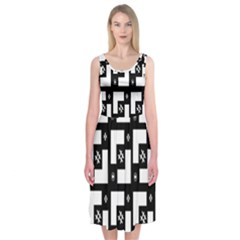 Abstract Pattern Background  Wallpaper In Black And White Shapes, Lines And Swirls Midi Sleeveless Dress